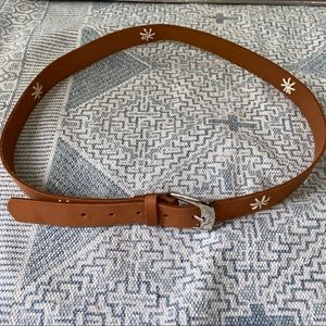 Accessories - Brown Cognac Genuine Leather Embroidered Belt XL